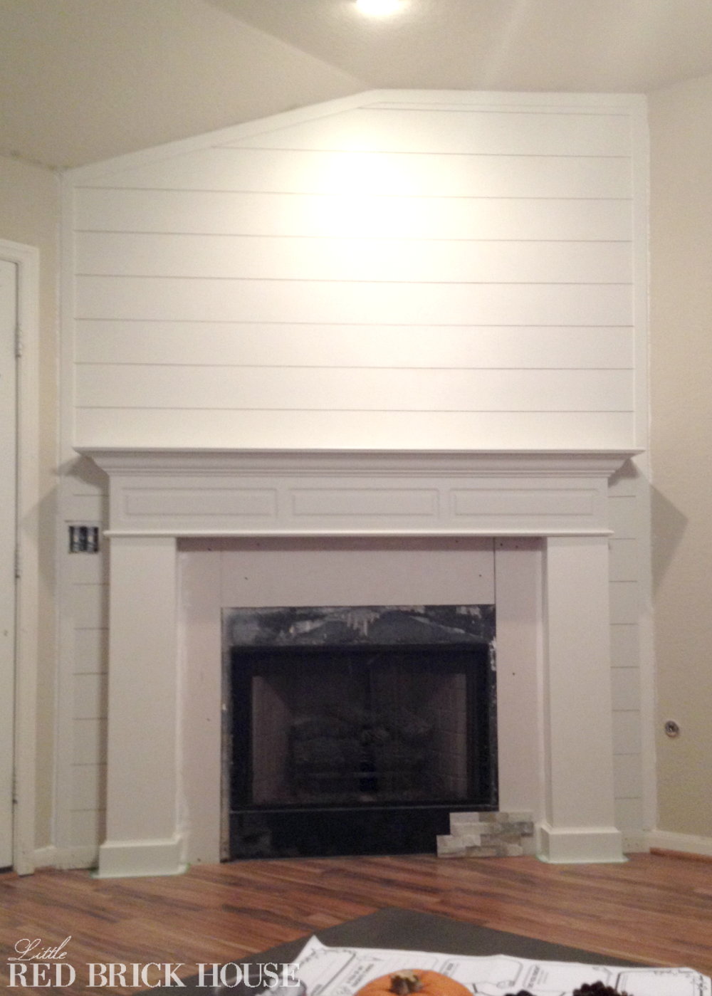 Fireplace makeover planked wall tutorial little red brick house - Fire place walls ...