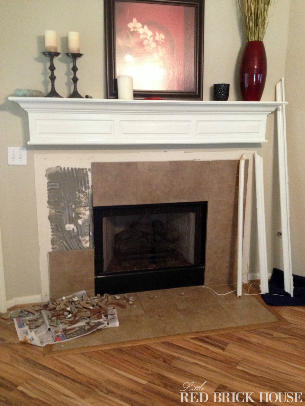 Fireplace Makeover: Demo & Pillar Construction | Little Red Brick ...