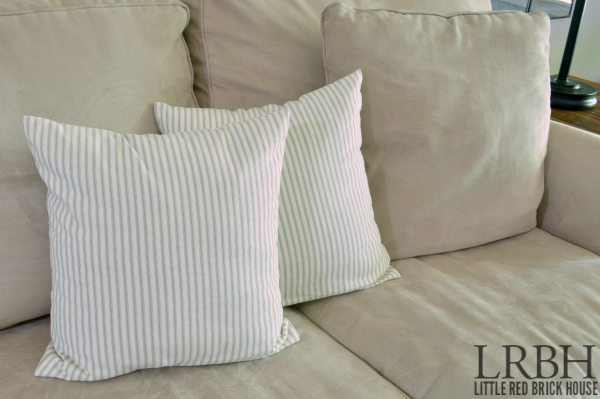 Grey Ticking Living Room Throw Pillows