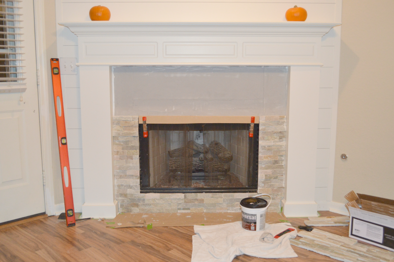 how to add stone veneer to a fireplace little red brick house - How To Stone Veneer Fireplace