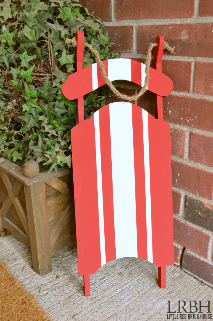 Grain Sack Stripe Christmas Sled | LITTLE RED BRICK HOUSE