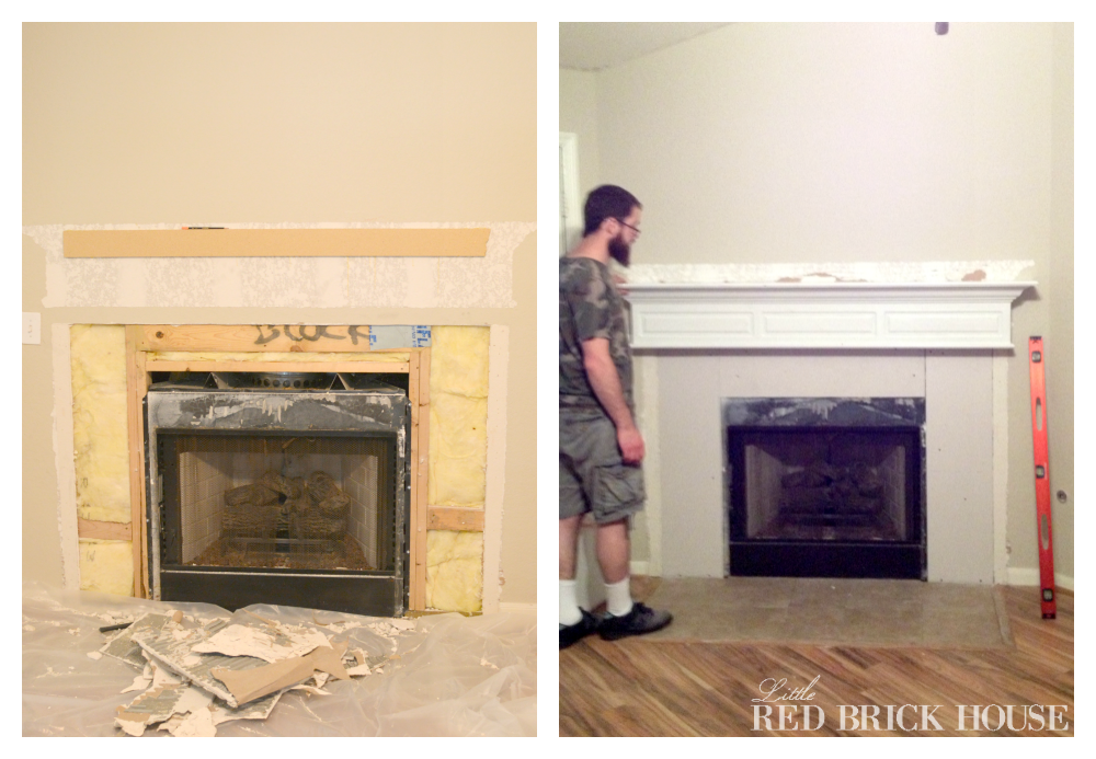 Brick Cement Board : Fireplace makeover demo pillar construction little