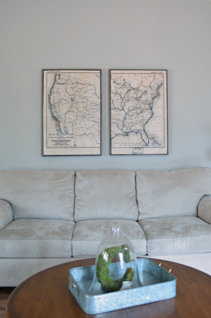 Framed US Explorer Route Map Little Red Brick House - Framed us map