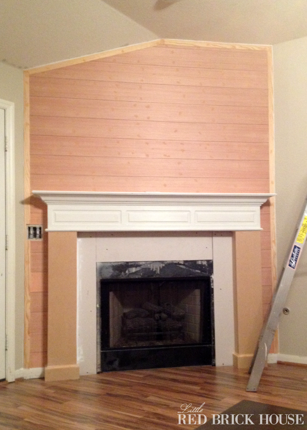 Fireplace Makeover Planked Wall Tutorial Little Red