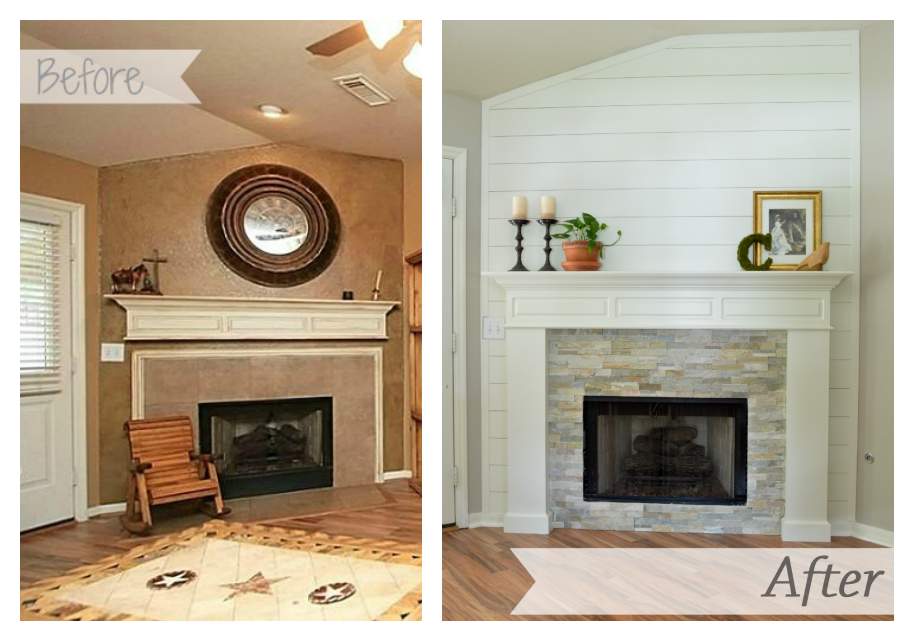 Our farmhouse fireplace makeover reveal.