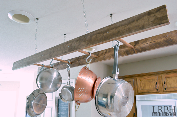 DIY Ladder Pot Rack | LITTLE RED BRICK HOUSE